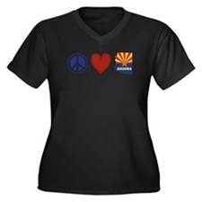 Peace Love Arizona Women's Plus Size V-Neck Dark T