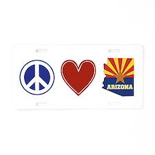 Peace Love Arizona Aluminum License Plate