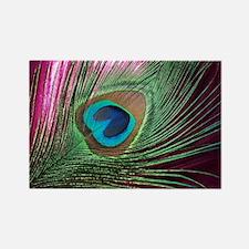 Magenta Peacock Rectangle Magnet