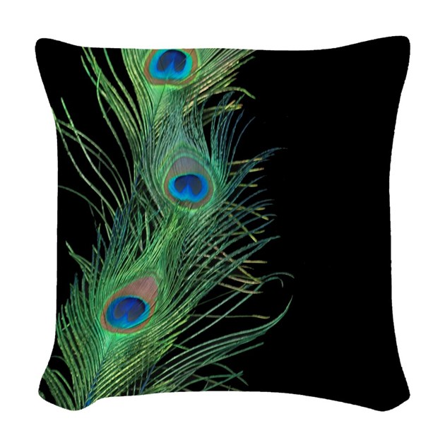 Black And Green Peacock Feather Woven Throw Pillow By