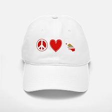 Peace Love California Baseball Baseball Cap