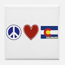 Peace Love Colorado Tile Coaster