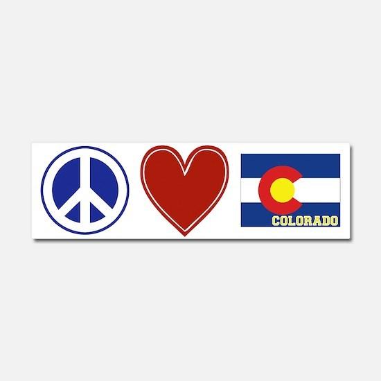 Peace Love Colorado Car Magnet 10 x 3