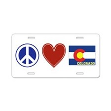 Peace Love Colorado Aluminum License Plate