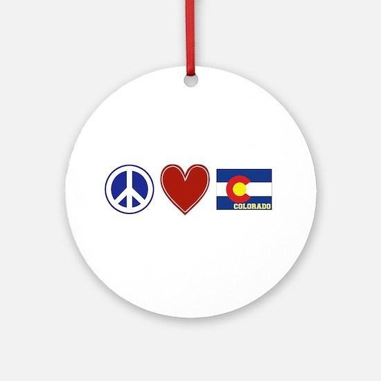 Peace Love Colorado Ornament (Round)