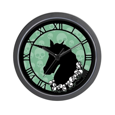 Unicorn With Skulls Wall Clock