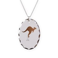 Cute kangaroo mom and baby Necklace Oval Charm