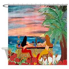 Mermaid Tiki Sunset Wine Bar Shower Curtain
