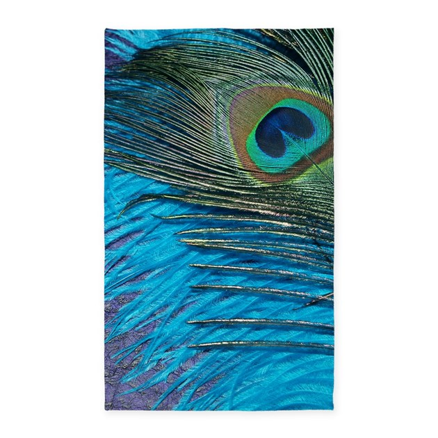 purple and teal peacock 3 39 x5 39 area rug by christyoliver. Black Bedroom Furniture Sets. Home Design Ideas