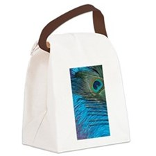 Purple and Teal Peacock Canvas Lunch Bag