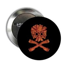 "Bacon Skull and Crossbones 2.25"" Button"