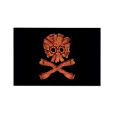 Bacon Skull and Crossbones Rectangle Magnet