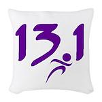 Purple 13.1 half-marathon Woven Throw Pillow