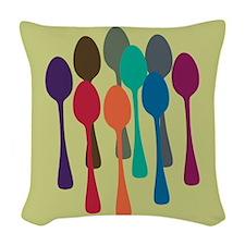 Pop Art Spoons Woven Throw Pillow