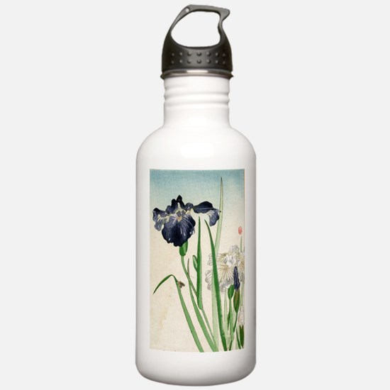 Irises - anon - 1900 - woodcut Water Bottle