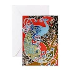 Nouveau Peacock Greeting Card