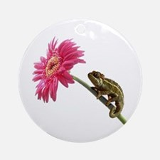 Chameleon Lizard on pink flower Ornament (Round)