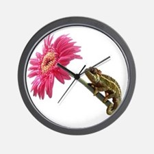 Chameleon Lizard on pink flower Wall Clock