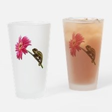 Chameleon Lizard on pink flower Drinking Glass
