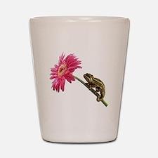 Chameleon Lizard on pink flower Shot Glass