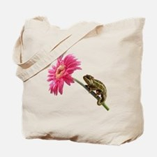 Chameleon Lizard on pink flower Tote Bag