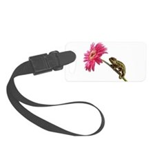 Chameleon Lizard on pink flower Luggage Tag