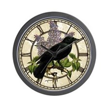 Lilacs And Crow Wall Clock
