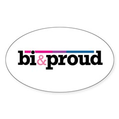 Bi&proud White Oval Decal