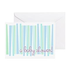 Baby Shower Blue Stripe Invitations (Pk of 10)