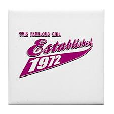 Established in 1972 birthday designs Tile Coaster
