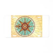 Antique Compass Rose Aluminum License Plate