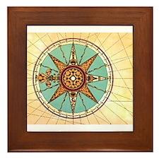 Antique Compass Rose Framed Tile