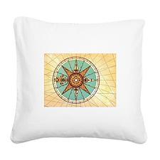 Antique Compass Rose Square Canvas Pillow