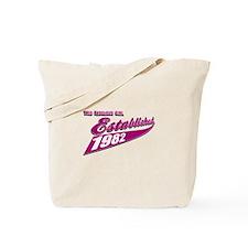 Established in 1982 birthday designs Tote Bag