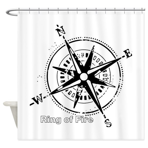 Ring of fire graphic compass shower curtain by fijishop