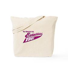 Established in 1987 birthday designs Tote Bag