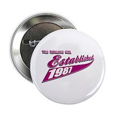 """Established in 1987 birthday designs 2.25"""" Button"""