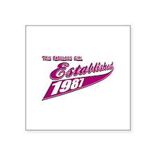 Established in 1987 birthday designs Square Sticke