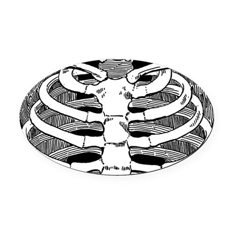 Ribcage Pattern Oval Car Magnet