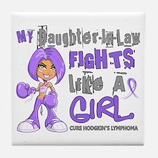 Fights Like a Girl 42.9 H Lymphoma Tile Coaster