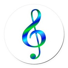 Colorful Treble Clef Round Car Magnet