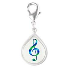 Colorful Treble Clef Silver Teardrop Charm
