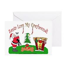 SANTA LUVS MY GREYHOUND GREETING CARDS (Pk of 10)