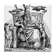 Odin with Ravens and Wolves Tile Coaster