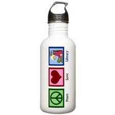 Peace Love Library Water Bottle