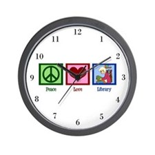 Peace Love Library Wall Clock