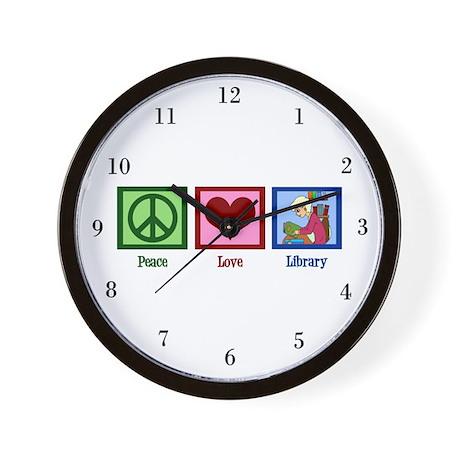Peace Love Library Wall Clock