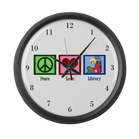 Peace Love Library Large Wall Clock