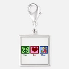 Peace Love Library Silver Square Charm
