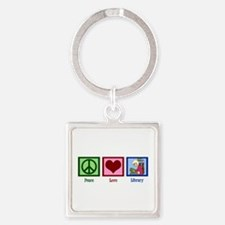 Peace Love Library Square Keychain